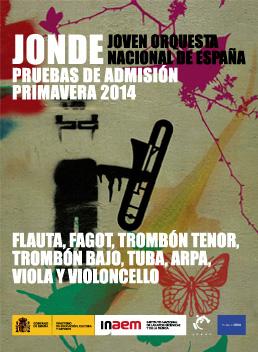 Joven Orquesta Nacional de España. Pruebas de admisión para la Bolsa de Instrumentistas 2014-2015