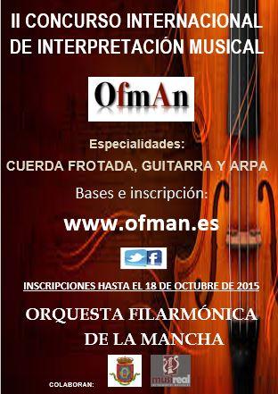II Concurso de Interpretación Musical OFMAN: Cuerda frotada, Arpa y Guitarra.