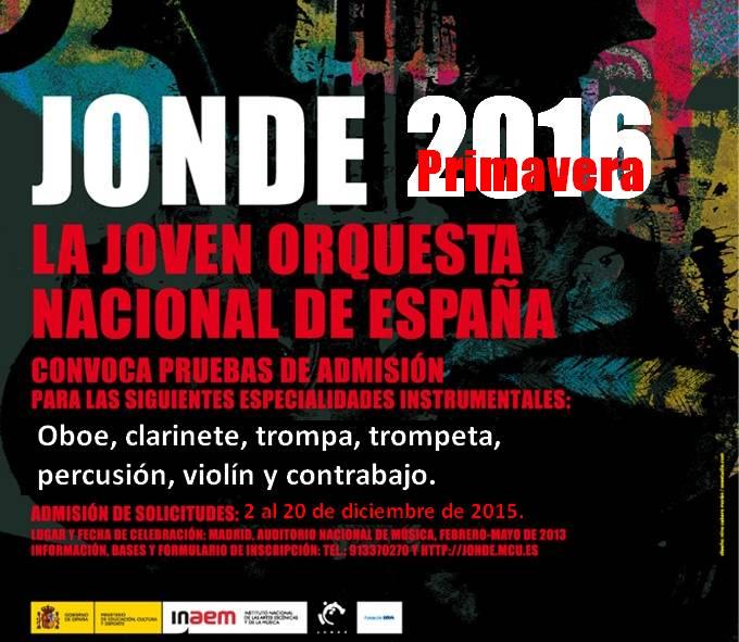 Pruebas primavera 2016 de la Joven Orquesta Nacional de España (JONDE)