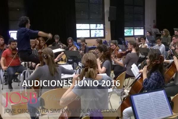 Audiciones 2016 para la Jove Orquestra Simfònica de Barcelona