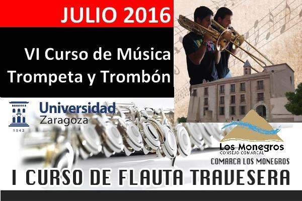 Cursos de verano: trompeta, trombón y flauta. Comarca de los Monegros