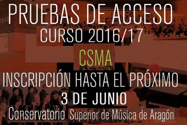 PRUEBAS DE ACCESO CSMA. Plazo hasta el 3 de Junio 2016