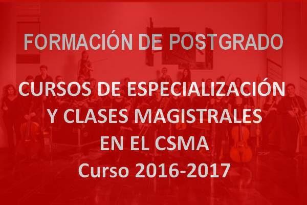 Cursos de Especialización y Clases Magistrales 2016/2017