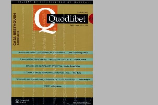 Sumario de Quodlibet Nº 61. revista de especialización musical.