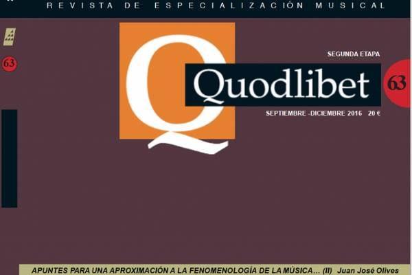 NUEVO NÚMERO DE LA REVISTA MUSICAL QUODLIBET. nº 63