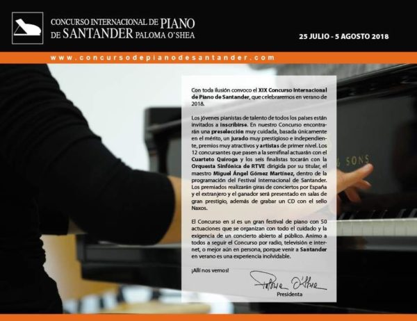 XIX Edición deñ Concurso Internacional de Piano de Santander Paloma O'Shea 2018