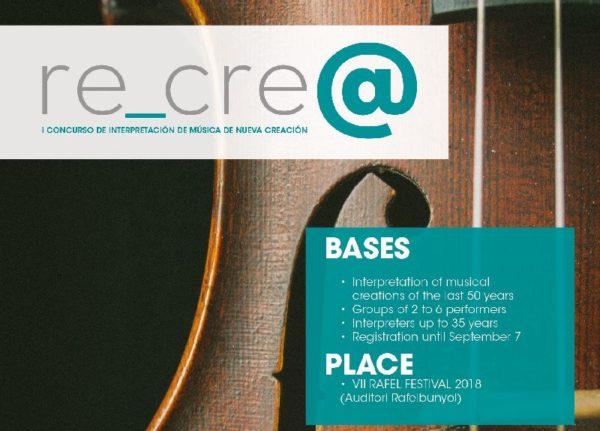 """I Concurso internacional """"RE_CRE@"""" impulsado por Rafel Festival y Ensems"""