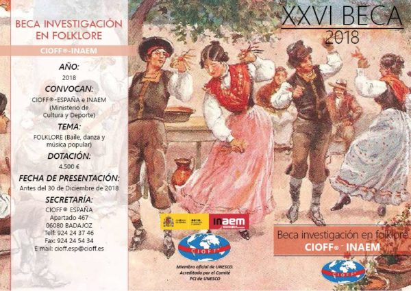 Convocada beca de investigación 2018 en Folclore por el CIOFF y el INAEM