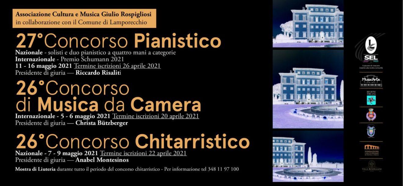 """Concursos de Piano, Guitarra y Música de Cámara """"Giulio Rospigliosi"""" 2021"""